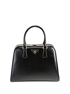 Prada - Saffiano Vernice Frame Pyramid Top Handle Bag