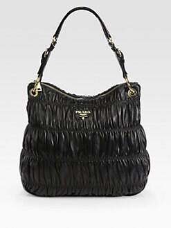 Prada - Nappa Gaufre Top-Zip Hobo Bag