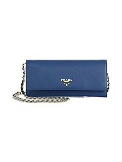 Prada - Saffiano Metal Oro Wallet With Chain