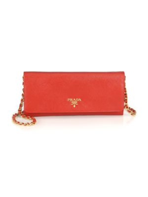 Saffiano Leather Chain Wallet