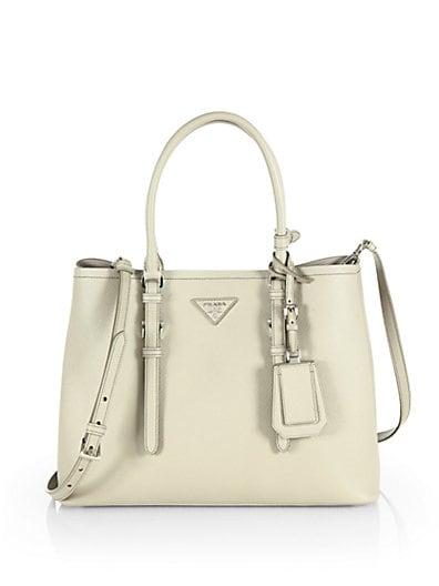 prada small leather goods - PRADA Saffiano Cuir Covered-Strap Double Bag, White (Talco)
