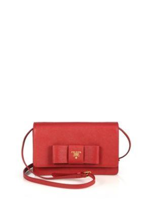 prada female 250960 saffiano lux bow crossbody bag