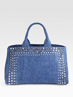 Prada - Studded Gardner Canvas Tote