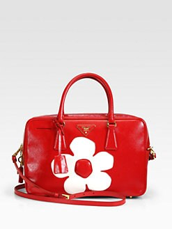 Prada - Saffiano Vernice Flower Zip Tote