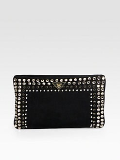 Prada - Studded Oversized Canvas Clutch