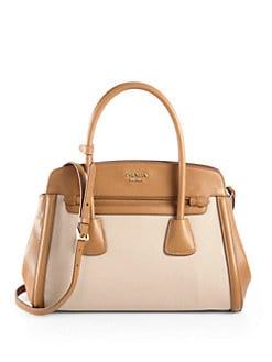 Prada - Canvas & Saffiano Cuir Satchel