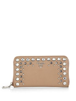 Prada - Studded Saffiano Vernice Zip-Around Wallet
