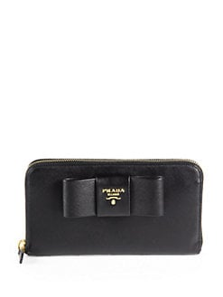 Prada - Saffiano Bow Zip-Around Wallet