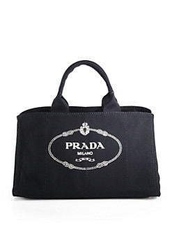 Prada - Logo Printed Large Canvas Tote