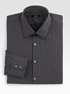 BOSS Black - Striped Cotton Dress Shirt
