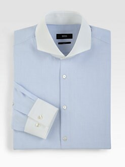 BOSS Black - Solid Cotton Dress Shirt