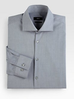 BOSS Black - Solid Chambray Dress Shirt