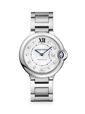 Ballon Bleu de Cartier Medium Diamond & Stainless Steel Automatic Bracelet Watch