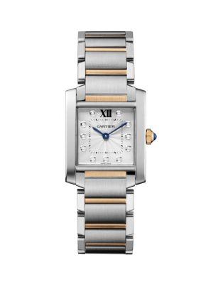 Tank Francaise Medium Diamond, 18K Pink Gold & Stainless Steel Bracelet Watch