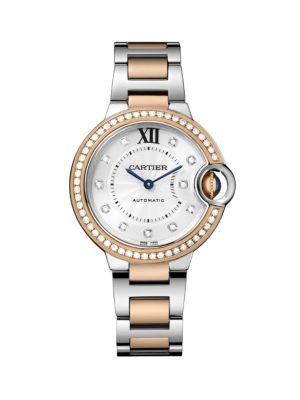 Ballon Bleu de Cartier Diamond, 18K Pink Gold & Stainless Steel Bracelet Watch