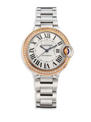 Ballon Bleu de Cartier Diamond,18K Pink Gold & Stainless Steel Bracelet Watch 0417112393096