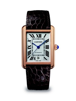 Tank Solo Automatic Extra-Large 18K Pink Gold & Alligator Strap Watch