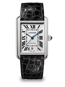 Cartier - Extra-Large Stainless Steel Rectangular Strap Watch