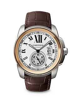 Cartier - Calibre de Cartier 18K Pink Gold, Stainless Steel & Alligator Watch