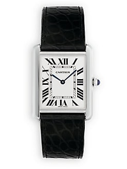Cartier - Tank Solo Stainless Steel Watch on Leather Strap, Large