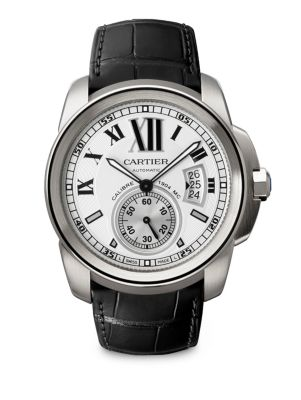 Calibre de Cartier Stainless Steel & Alligator Strap Watch