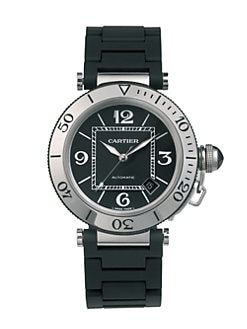 Cartier - Pasha Seatimer Stainless Steel Watch on Black Rubber Bracelet