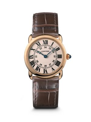 Ronde Louis Cartier 18K Rose Gold & Alligator Strap Watch