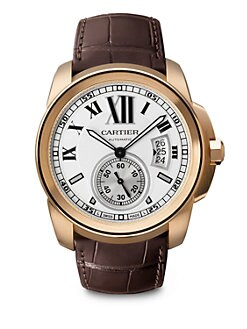 Cartier - Calibre de Cartier 18K Pink Gold & Alligator Watch