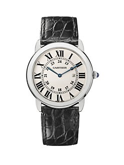 Cartier - Ronde Solo de Cartier Stainless Steel & Alligator Large Strap Watch