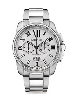 Cartier - Stainless Steel Round Chronograph Bracelet Watch