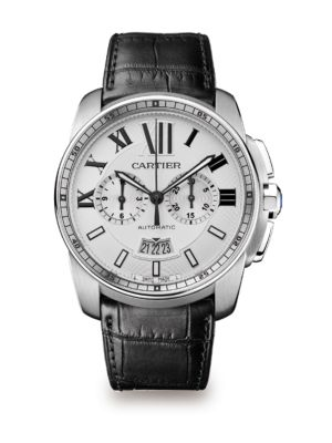 Calibre de Cartier Stainless Steel & Black Alligator-Strap Chronograph Watch