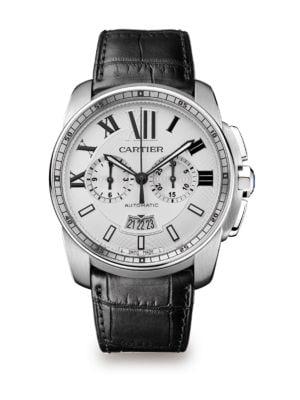 Calibre de Cartier Stainless Steel & Alligator Chronograph Strap Watch