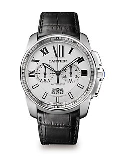Cartier - Stainless Steel Round Chronograph Strap Watch