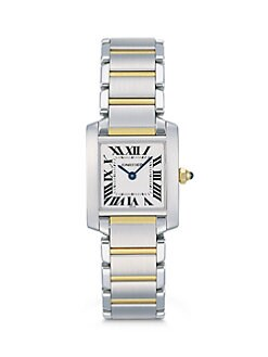 Cartier - Tank Francaise Stainless Steel & 18K Yellow Gold Watch on Bracelet, Small