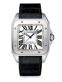 Cartier - Santos 100 Stainless Steel Watch on Strap, Large