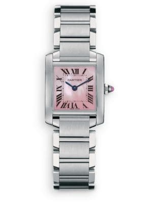 Tank Francaise Small Pink Mother-Of-Pearl & Stainless Steel Bracelet Watch