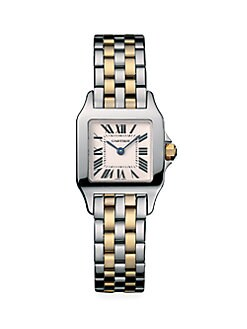 Cartier - Santos Demoiselle Stainless Steel Watch on Stainless Steel & 18K Yellow Gold Bracelet, Small