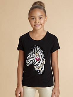 Juicy Couture - Girl's Sequined Zebra Tee