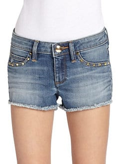 Juicy Couture - Girl's Studded Cut-Off Denim Shorts