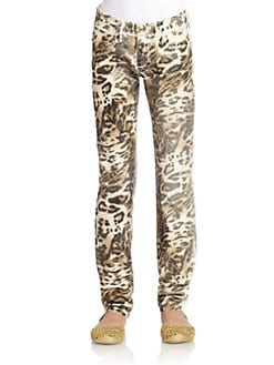 Juicy Couture - Girl's Foil Leopard Print Skinny Pants
