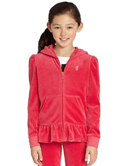 Juicy Couture - Girl's Ruffled Velour Hoodie