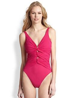 Gottex Swim - One-Piece Le Ribo V-Neck Swimsuit