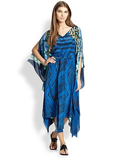 Gottex Swim - Emerald Boa Tied Silk Caftan