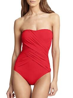 Gottex Swim - Draped Contour One-Piece Bandeau Swimsuit