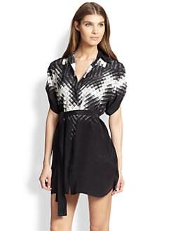 Gottex Swim - Kinetic Short-Sleeve Silk Blouse Dress