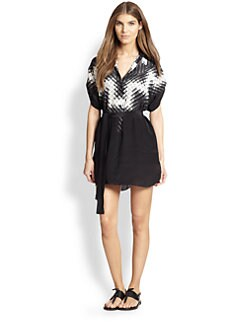 Gottex Swim - Kinetic Short-Sleeve Silk Blouse Dress