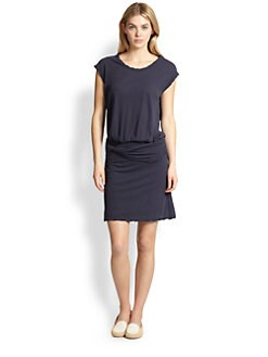 James Perse - Twisted-Waist Stretch Cotton Jersey Dress