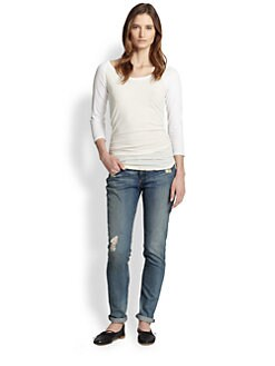James Perse - Ruched Cotton Baseball Tee