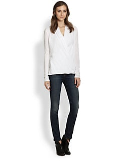 James Perse - Draped Cotton Wrap-Effect Top