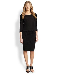 James Perse - Blouson-Waist Ruched Cotton Jersey Dress